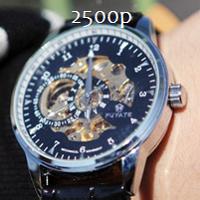 Мужские механические часы Скелетон с черным циферблатом