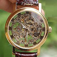 позолоченные наручные часы скелетоны