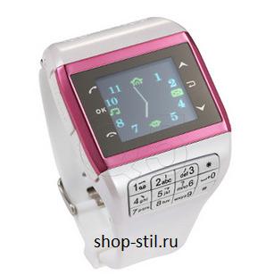часы-телефон 2 симкарты белые розовые